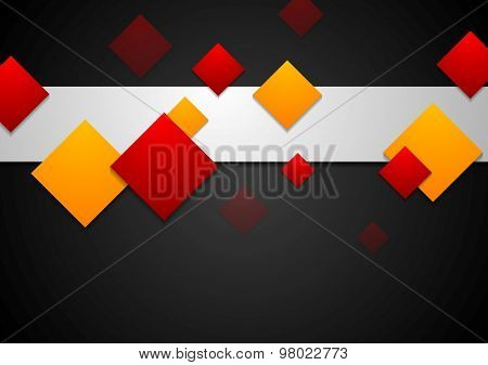 Red and orange geometric squares on black background. Vector card art template