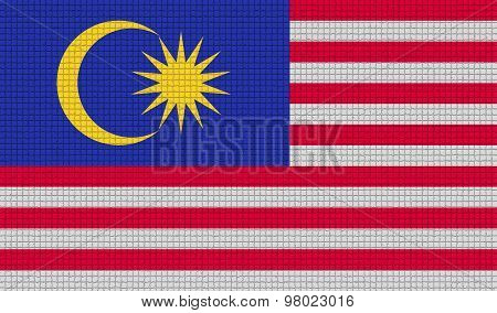 Flags Malaysia With Abstract Textures. Rasterized