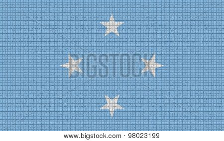 Flags Micronesia With Abstract Textures. Rasterized