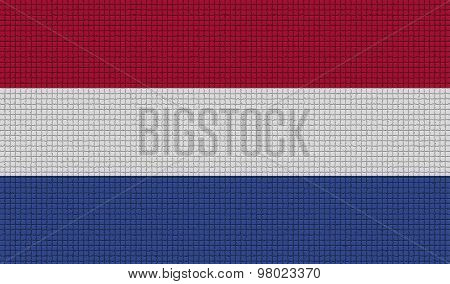 Flags Netherlands With Abstract Textures. Rasterized