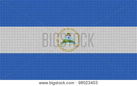 Flags Nicaragua With Abstract Textures. Rasterized