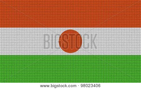 Flags Niger With Abstract Textures. Rasterized