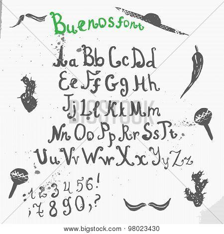 Vector Grunge full Handwritten calligraphic ink alphabet with sombrero, cactus and mustache.