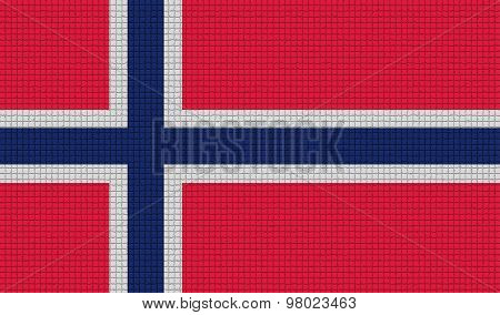Flags Norway With Abstract Textures. Rasterized