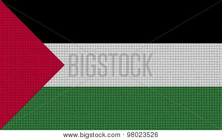 Flags Palestine With Abstract Textures. Rasterized