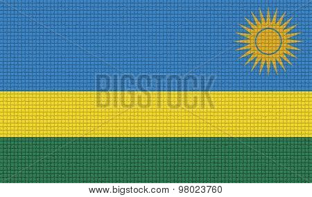 Flags Rwanda With Abstract Textures. Rasterized