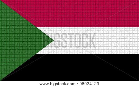 Flags Sudan With Abstract Textures. Rasterized