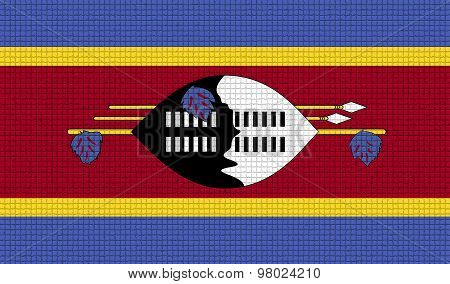 Flags Swaziland With Abstract Textures. Rasterized