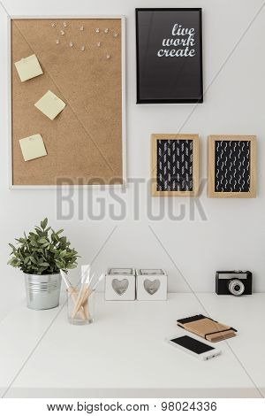 Workspace With Bulletin Board