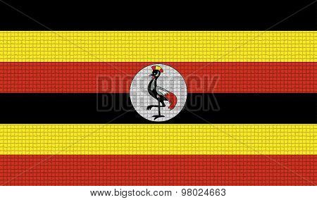 Flags Uganda With Abstract Textures. Rasterized