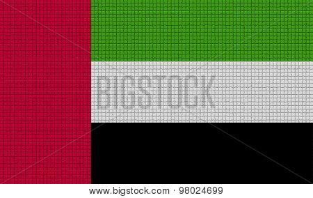 Flags United Arab Emirates With Abstract Textures. Rasterized
