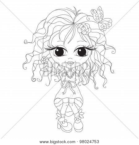 Outlined romantic girl