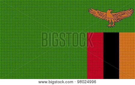 Flags Zambia With Abstract Textures. Rasterized