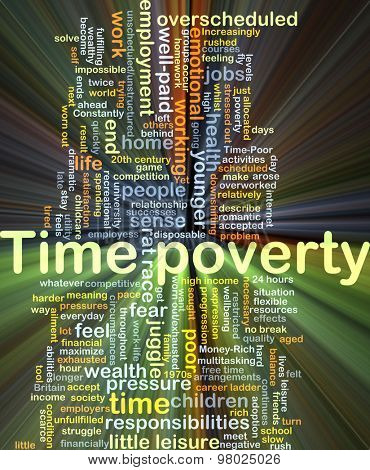 Background concept wordcloud illustration of time poverty glowing light