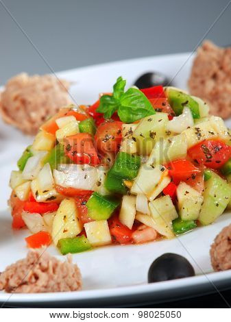 Tunisian Salad With Tomatos, Cucumbers And Tuna