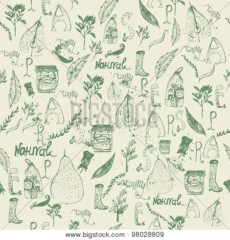 Vector vintage Elegant seamless doodle pattern with pears, jar, boots and letterng on light backgrou