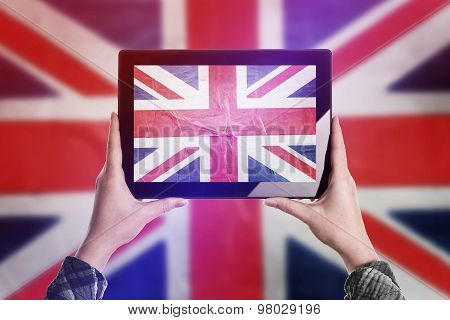 Taking Picture Of United Kingdom Flag With Digital Tablet