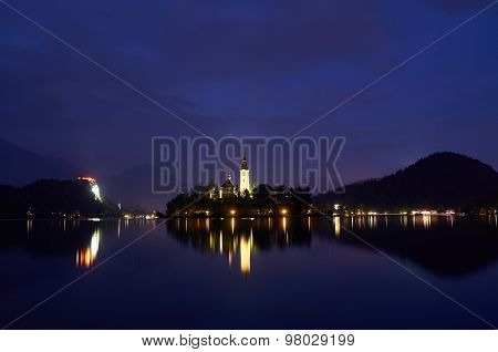 Night View Over The Lake Bled, Slovenia