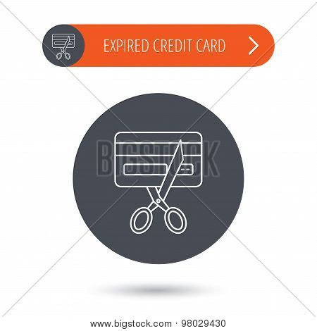 Expired credit card icon. Shopping sign.