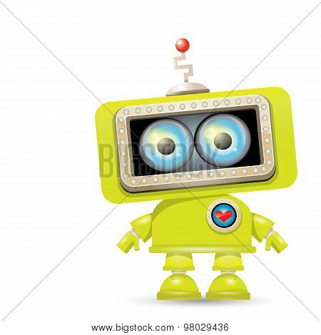 vector green cartoon robot isolated on white
