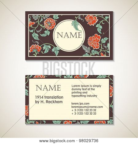 Brown Floral Visit Card Template