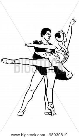 Sketch Of A Pair Of Ballet Dancers Swan Laked