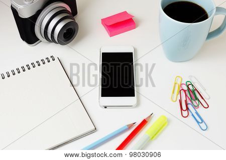 Office Desk With Phone And Camera