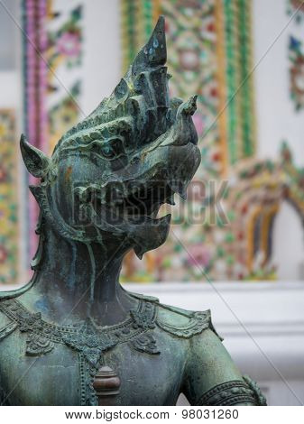 statue king of nagas in front of buddhism temple, Angthong Province, Thailand