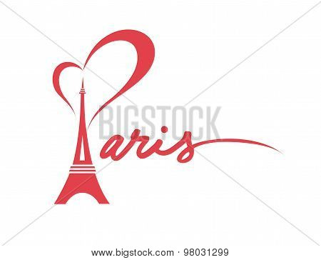 I Love Paris - Vector Graphic in Red