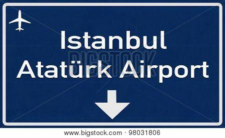 Istanbul Ataturk Turkey Airport Highway Sign