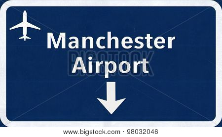 Manchester England United Kingdom Airport Highway Sign