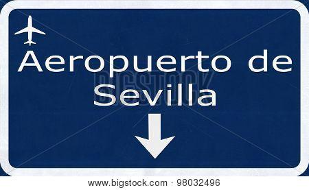 Sevilla Spain Airport Highway Sign