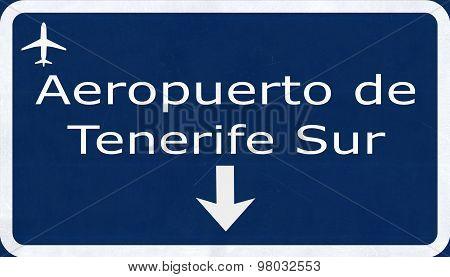 Tenerife Sur Spain Airport Highway Sign