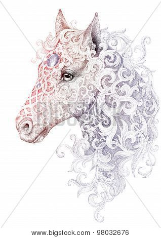 Tattoo, Beautiful Horse Head With A Mane