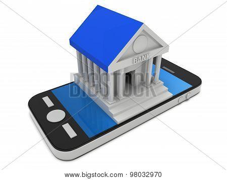 Bank building on smartphone