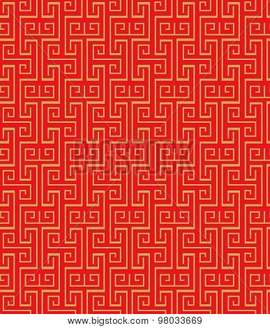 Golden seamless vintage Chinese traditional window tracery square spiral pattern background.