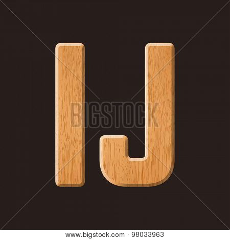 Sans serif geometric font with wood texture. Vector illustration