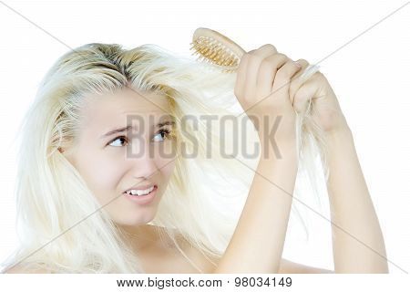 Young girl with tangled hairs