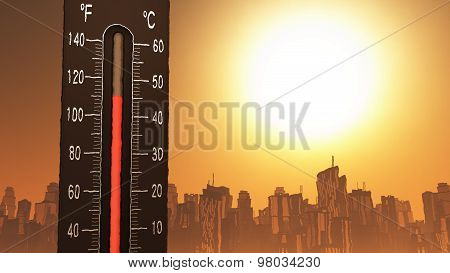 Thermometer Showing Heat In Fahrenheit And Celsius