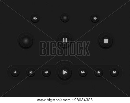 Dark Web UI Elements. Buttons, pannel, bars, Vector illustration