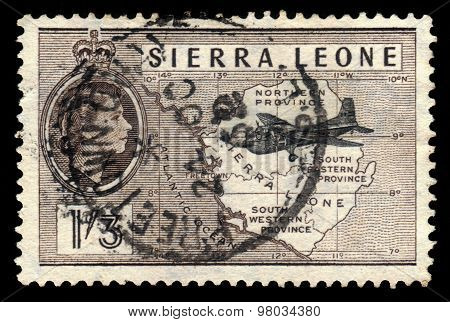 Plane On A Background Map Of Sierra Leone
