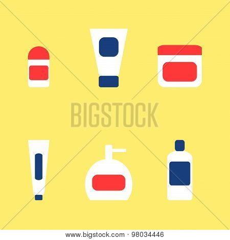 Bathroom accessories elements icons set. Toothpaste, deodorant, cream, soap, shampoo.