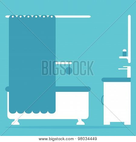 Modern bathroom interior with bath, sink and mirror.