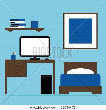 Boy bedroom interior with bed, table, computer in blue and brown colors.