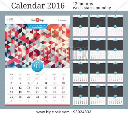 Wall Calendar 2016. Vector Template With Place For Photo. 12 Months. Week Starts Monday.
