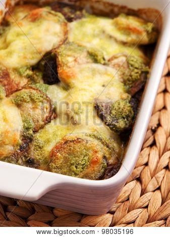 Zucchini Casserole With Mozzarela And Basil