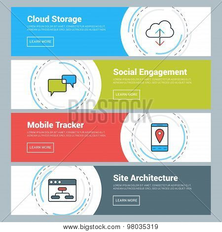Flat Design Concept. Set Of Vector Web Banners. Cloud Storage, Social Engagement, Mobile Tracker, Si