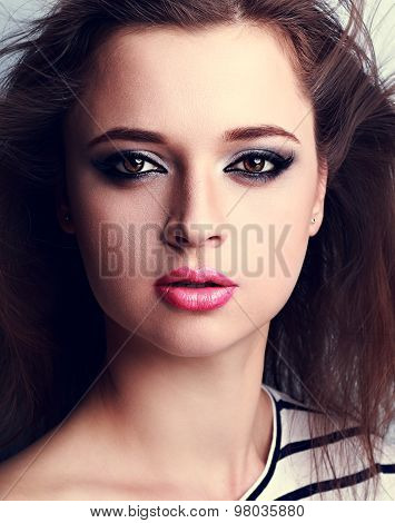 Beautiful Makeup Woman With Pink Lipstick And Smoky Eyes Make-up