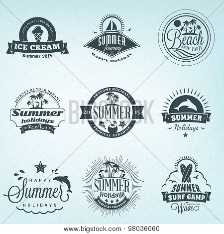 Summer Holidays Design Elements. Set Of Hipster Vintage Logotypes And Badges