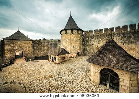inside yard with buildings of Khotyn Fortress